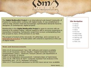 Screenshot of the Digital Medievalist web site.