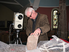 Image of me scanning part of the Ruthwell Cross
